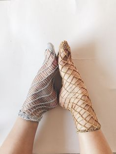 Last week, I posted the pattern to my knitted fishnet socks, and promised a crochet version for all the crochetersout there. The first half of this sock zoomed by, and I was super excited - it was looking fishnetty and was such bliss to crochet.     Then I got to the hem and got stuck for 4 days... the lurex just was not stretch enough to get over my instep and heel, or was too loose and floppy around my ankle. I tried working a front post/back post mock rib, but that was a failure t...