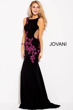 800805d15c Jovani 58966 Floral Jersey Gown with Sheer Sides