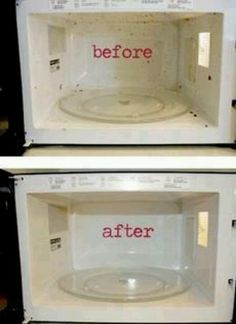 1 cup of vinegar and 1cup of water 10min in your microwave and its steamed clean!