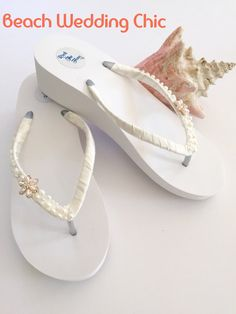 6a18d66fe05 Bridal Flip Flops Wedges.Wedding Flip Flops sandals. Ivory Wedding Shoes.Bridal  Shoes.Ivory Ribbon Flip Flops.Beach Wedding Accessories