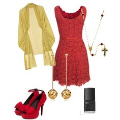 An evening out with a beautiful red lace dress and dangling gold earrings!