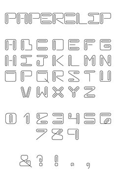 Paperclip font - again, can't find the original to give credit to the creator. Found this one on mayalphabet.tumblr.com