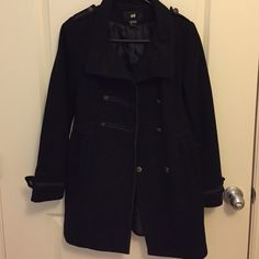 H&M Dress Length Military Coat Used, in good condition. Size 2. Black. This would be gorgeous over any dress with boots or pumps! H&M Jackets & Coats