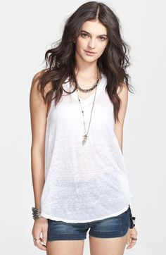 Free shipping and returns on Free People 'Breezy' Seam Detail Slub Knit Tank at Nordstrom.com. A dimensional slub knit spins this swingy V-neck tank contoured with artfully drawn tonal seams.