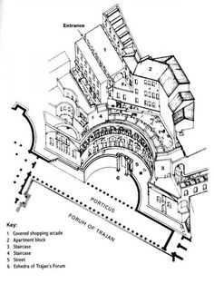 Trajan's market, Rome. Placed outside the high walls of the Forum while acting as the 'poche'/ground  to the Forum's figure. Built into the hills in multiple levels with cast concrete structure_gp