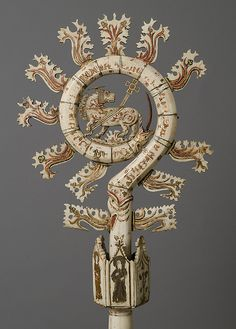 Crozier (Bischofsstab mit Löwe) -- Early Century -- North Italian -- Bone and paint -- The Metropolitan Museum of Art Medieval World, Medieval Art, European History, Ancient History, Yule, Rome Antique, Empire Romain, The Cloisters, Objet D'art