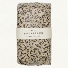 Delicate botanical pattern and minimal narrow band on hand-wrapped soap bar. Just lovely.