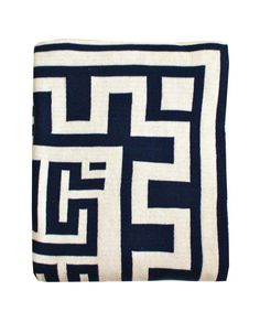 Greek Key Throw Blanket, Navy