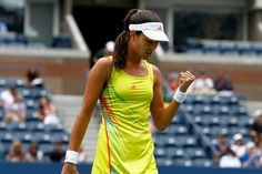 Ana Ivanovic in action against Tsvetana Pironkova (BUL) in the fourth round at the US Open. Ana Ivanovic, Action, Earth, Yellow, Sports, People, Photos, Tennis, Hs Sports