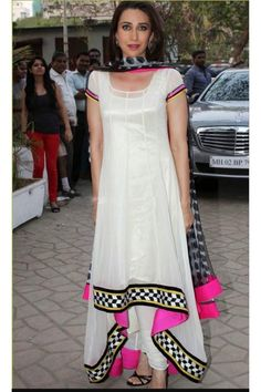 Bollywood Special - Bollywood Inspired : Karishma Kapoor In White Anarkal Suit - - PRODUCT Details : Style : Party Wear Salwar Suit /Semi-Stitched Anarkali Suit De White Anarkali, Anarkali Dress, Anarkali Suits, Pakistani Dresses, Indian Dresses, Ladies Suits Indian, Suits For Women, Clothes For Women, Mother's Day Special Gifts