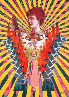 From the Collection: Tadanori Yokoo – Letterform Archive Illustration Design Graphique, Art Graphique, Japanese Poster, Japanese Art, Tadanori Yokoo, Pop Art, Art Et Architecture, Art Du Collage, Avant Garde Artists