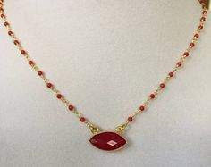 Red Onyx Gold Necklace - Edit Listing - Etsy