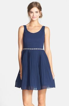 a. drea Embellished Waist Pleated Fit & Flare Dress (Juniors) available at #Nordstrom