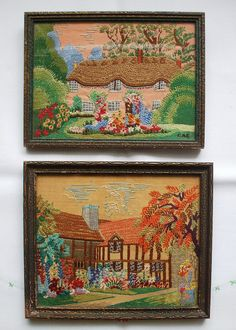 Old embroidered pictures - I think these are wonderful.