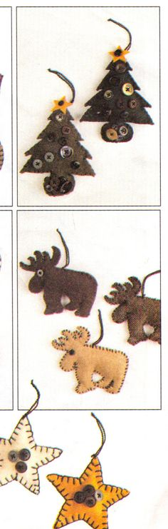 McCalls 7772 / 731 Country Christmas Decorations Pattern Primitive Moose Tree Star Heat Snowman Angels Ornaments Tree Centerpiece Patchwork Wreath and Stocking sewing pattern by mbchills
