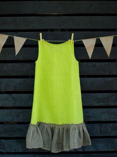 A line Girls Dress Green Linen Texture Ruffles by KIDLINO on Etsy