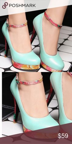 """Gorgeous High Heels.  Green, Red Print. Gorgeous High Heels.  4 3/4"""" heel. Size 40 on shoe.  Shoe measures 9.5"""" on inside of shoe  or in US equals size 7.5. It also measures 3.125"""" at widest part of shoe which equals Narrow width US.  Please measure your foot to assure right size.  FIRM PRICE.  Gorgeous! Shoes Heels"""