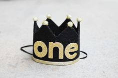 QUICK SHIP- Boys 1st Birthday Small Black and Gold One Crown - Wild One - Mr. Onederful - Dog Birthday Crown