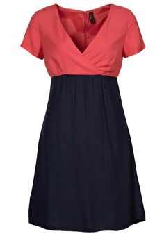 coral and navy, just add a decorative crystal belt perfect bridesmaids dress!!
