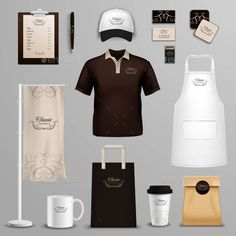 Buy Restaurant Cafe Corporate Identity Icons Set by macrovector on GraphicRiver. Coffee shop corporate identity and branding design of packages and menu icons set abstract isolated vector illustrati.
