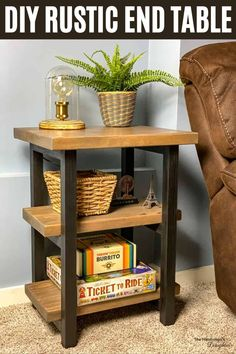 Why buy when you can DIY? This DIY rustic end table costs a fraction of the price of the store bought version! All you need are a few 2x4 and 2x2 boards! Learn how to make your own with woodworking plans from The Handyman's Daughter! Diy Furniture Plans, Diy End Tables, Rustic Diy, Woodworking Projects Diy, Furniture Plans, End Tables, Diy Furniture Projects, Rustic End Tables, Beginner Woodworking Projects