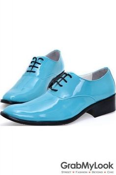 GrabMyLook Blue Turquoise Patent Glossy Fancy Color Leather Lace Up Point Head Mens Oxfords Shoes
