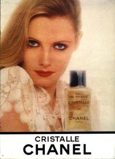 Cristalle by Chanel, original formulation (the EDT). Another Chanel favorite for me, especially in the summertime. Perfume Ad, Vintage Perfume, Vintage Chanel, Vintage Beauty, Vintage Ads, Chanel Beauty, Beauty Ad, Chanel Makeup, Chanel Paris