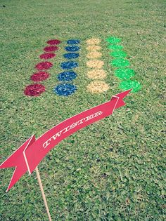 spray painted twister game for backyard or outdoor wedding :)