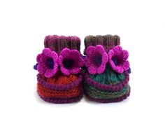 Baby Booties Knitted with Crochet Bell Flowers - Green Red and Pink 0 - 6 months (20.00 USD) by SasasHandcrafts