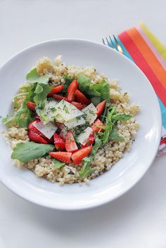 Strawberries, Parmesan cheese and Couscous