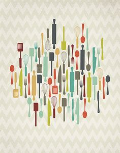 Retro Kitchen Utensils X Print By Projecttype On Etsy