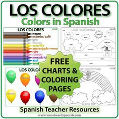 GRATIS: Afiches acerca de los colores en español con páginas para colorear. FREE: Charts about the colors in Spanish for a classroom wall and coloring pages to practice them.