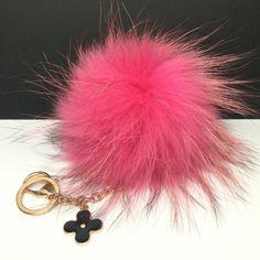 34.00$  Buy here - http://viwho.justgood.pw/vig/item.php?t=38we86r5990 - Beautiful Pink Raccoon Fur Pom Pom luxury bag pendant flower keychain charm wit 34.00$
