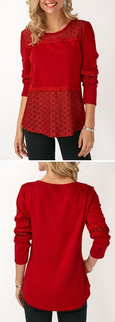 Round Neck Patchwork Long Sleeve T Shirt