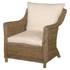 Perfect placed in the sunroom or den, this woven rattan arm chair showcases a washed finish and upholstered cushions.    Product: