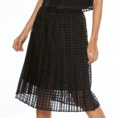 ELLE Checkered Midi Organza Skirt - Kohls $54 , PRODUCT FEATURES Tonal checkered pattern, Full, pleated design Lightweight organza overlay,  Lined, FIT & SIZING 26 1/4-in. approximate length Midi length, Side zipper FABRIC & CARE  Skirt & lining: polyester, Machine wash Imported