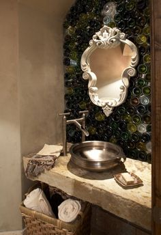 Shut up! Wine bottle back-splash....love it, hate the cheap looking mirror though! What a cool idea!