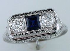 Vintage Antique .70ct Diamond Sapphire 14K White Gold Art Deco Engagement Ring