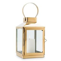 Add a romantic ambiance to your wedding ceremony, reception, or garden party with this beautiful gold candle lantern that is perfect for use indoors or out. Gorgeous gold metal and clear glass panes m