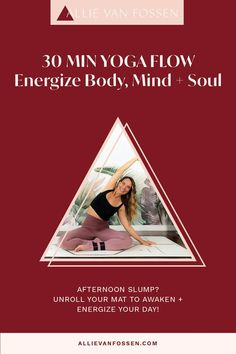 Awaken and energize your body, mind + soul with a 30 minute yoga flow! Want a pick-me-up that doesn't leave you jittery? This yoga practice enlivens your breath, taps into your endorphins and chases away fatigue and afternoon slumps, so you can continue your day from a centered, calm and grounded state. Unroll your mat yoga fam, it's time to energize your day with me! Allie, xx #yogaforenergy #energizingyogaflow #30minpoweryoga #allievanfossen Yoga Inversions, Vinyasa Yoga, Yoga Arm Balance, 30 Minute Yoga, Free Yoga Classes, Bedtime Yoga, Gentle Yoga, Advanced Yoga, Yoga For Flexibility