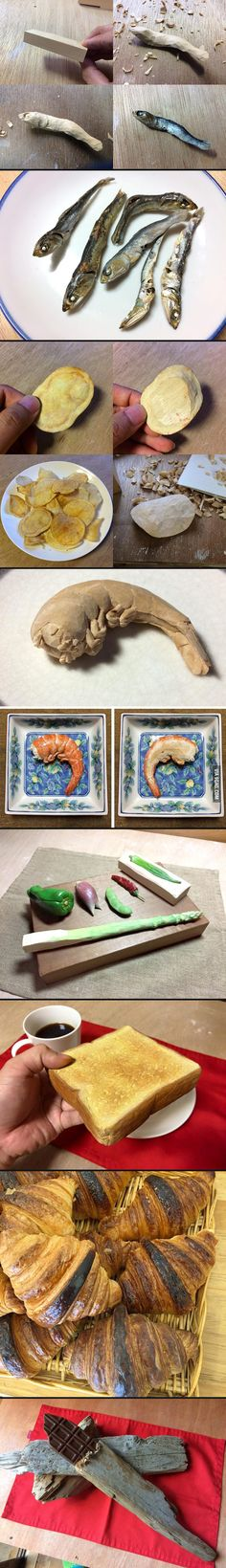 Realistic wooden food