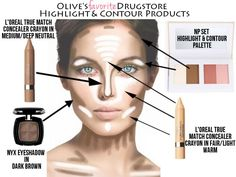 Ivory and Olive's Drugstore Contour and Highlighting Faves! Description from pinterest.com. I searched for this on bing.com/images