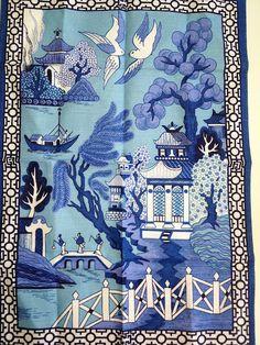 AMAZING vintage tea towel.  Willow pattern, always beautiful...