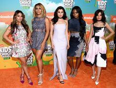 Thse girls practiced this so hard. Ally Brooke, Dinah-Jane Hansen, Lauren Jauregui, Normani Hamilton, and Camila Cabello of Fifth Harmony #KidsChoiceAwards
