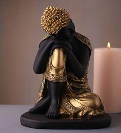 Earth Black Polyresin Buddha Sitting Statue