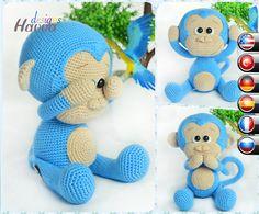 PATROON  schattige blauwe aap van HavvaDesigns op Etsy