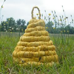 Fabric bee skep. What's not to love??? Bebe'!!! New fabric handmade bee skip!!! Unique!!!