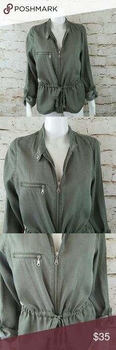 "Maison Jules Macy's army green light weight jacket Excellent condition like new gathered tie waist spring jacket.  20"" across from armpit to armpit and 26"" long from shoulder to hem Macy's Jackets & Coats"