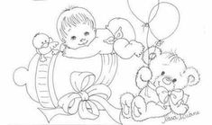 Baby Coloring Pages, Doodle Coloring, Adult Coloring, Coloring Books, Baby Embroidery, Vintage Embroidery, Painting Patterns, Fabric Painting, Baby Patterns
