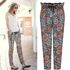 Spring/Autumn Floral Printing Casual Pants for Women Girl Ladies (S-XL) DCD-373788
